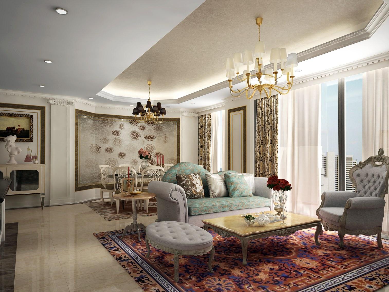 Phòng khách chung cư thoáng rộng và tiện nghi