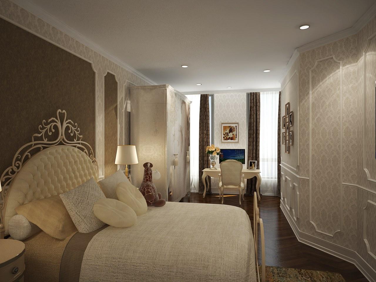Phào và giấy dán tường được chọn lọc kỹ càng trong phòng ngủ 2