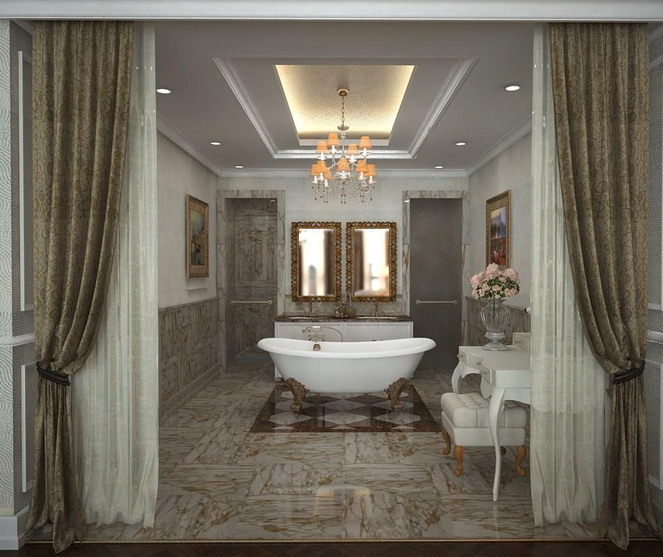Phòng tắm rộng và đẹp mắt với đá hoa cương