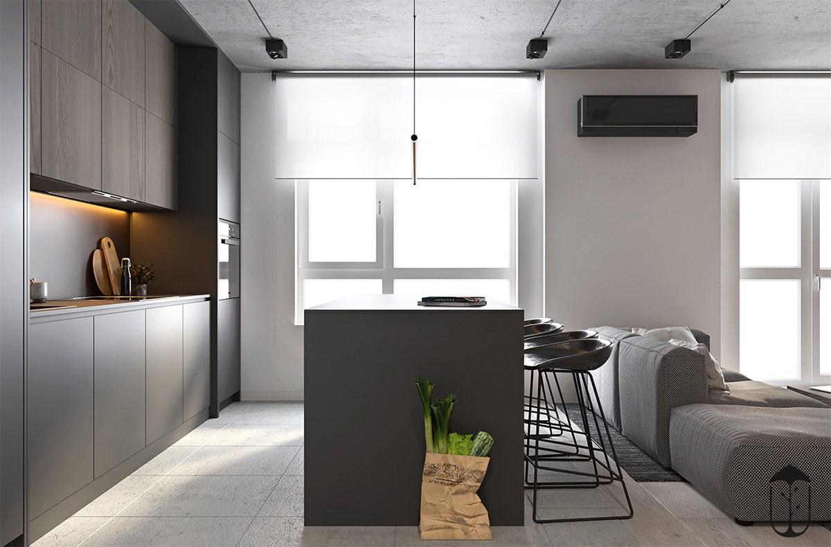 Bếp thiết kế liền kề với phòng khách và hướng sáng