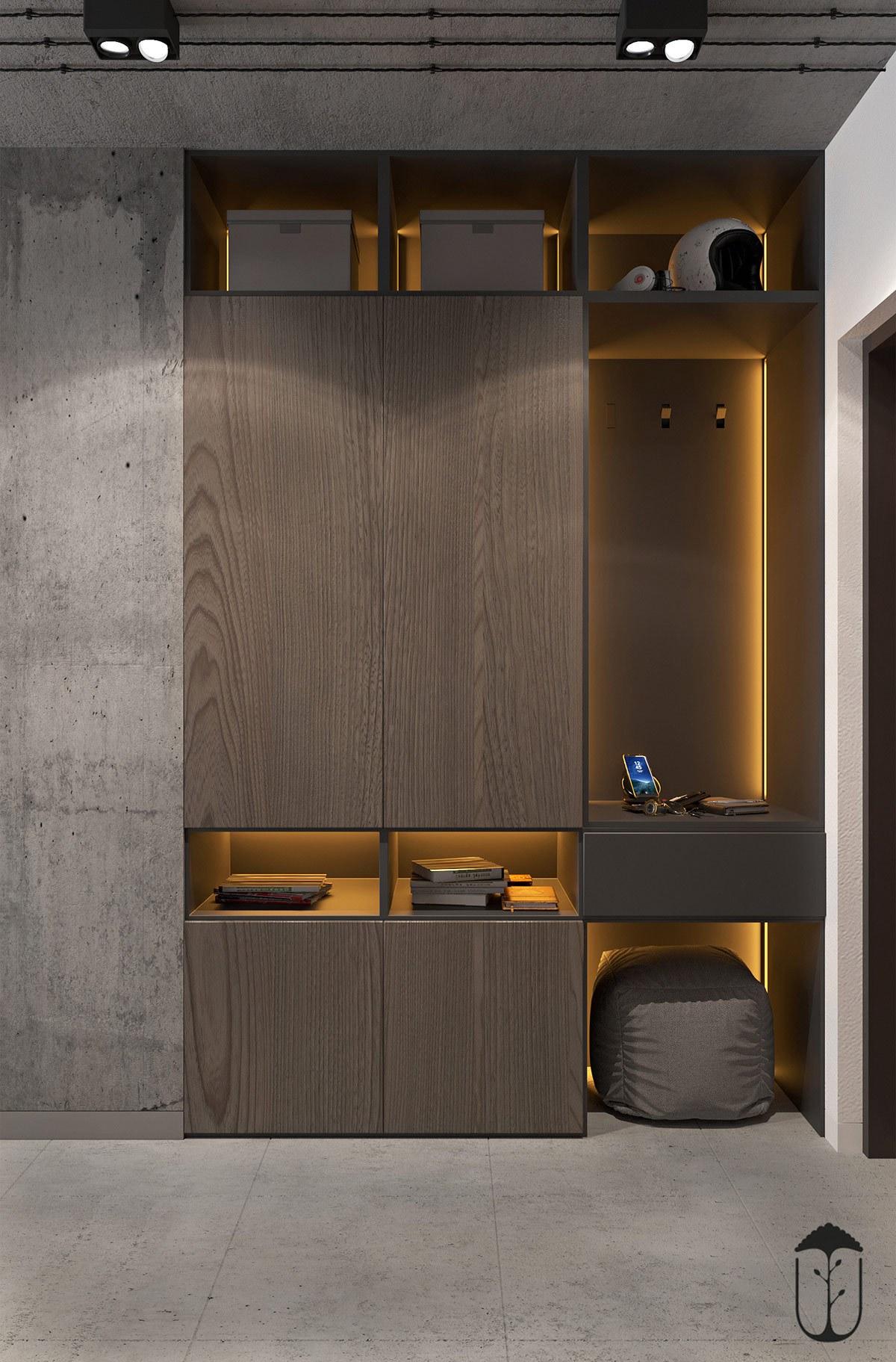 Tủ trang trí thiết kế âm tường và khá dẹp mắt