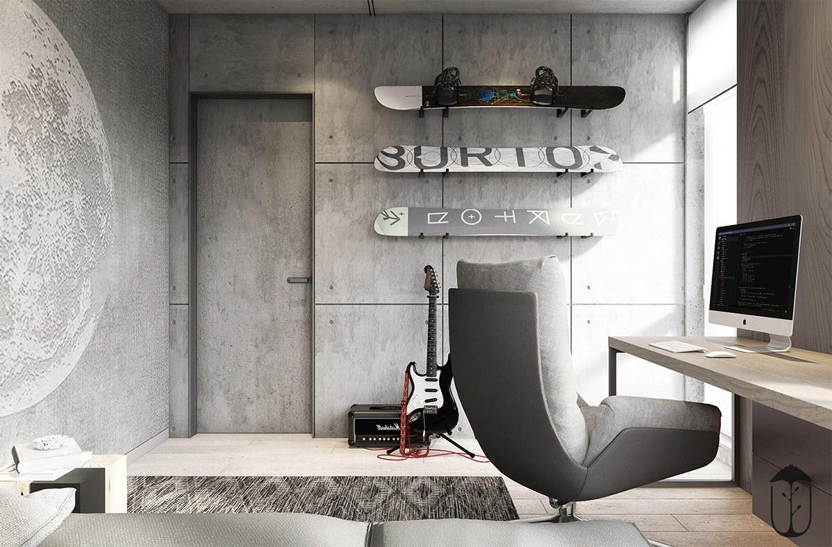 Mảng tường xi măng và chiếc ghế tựa kiểu cách