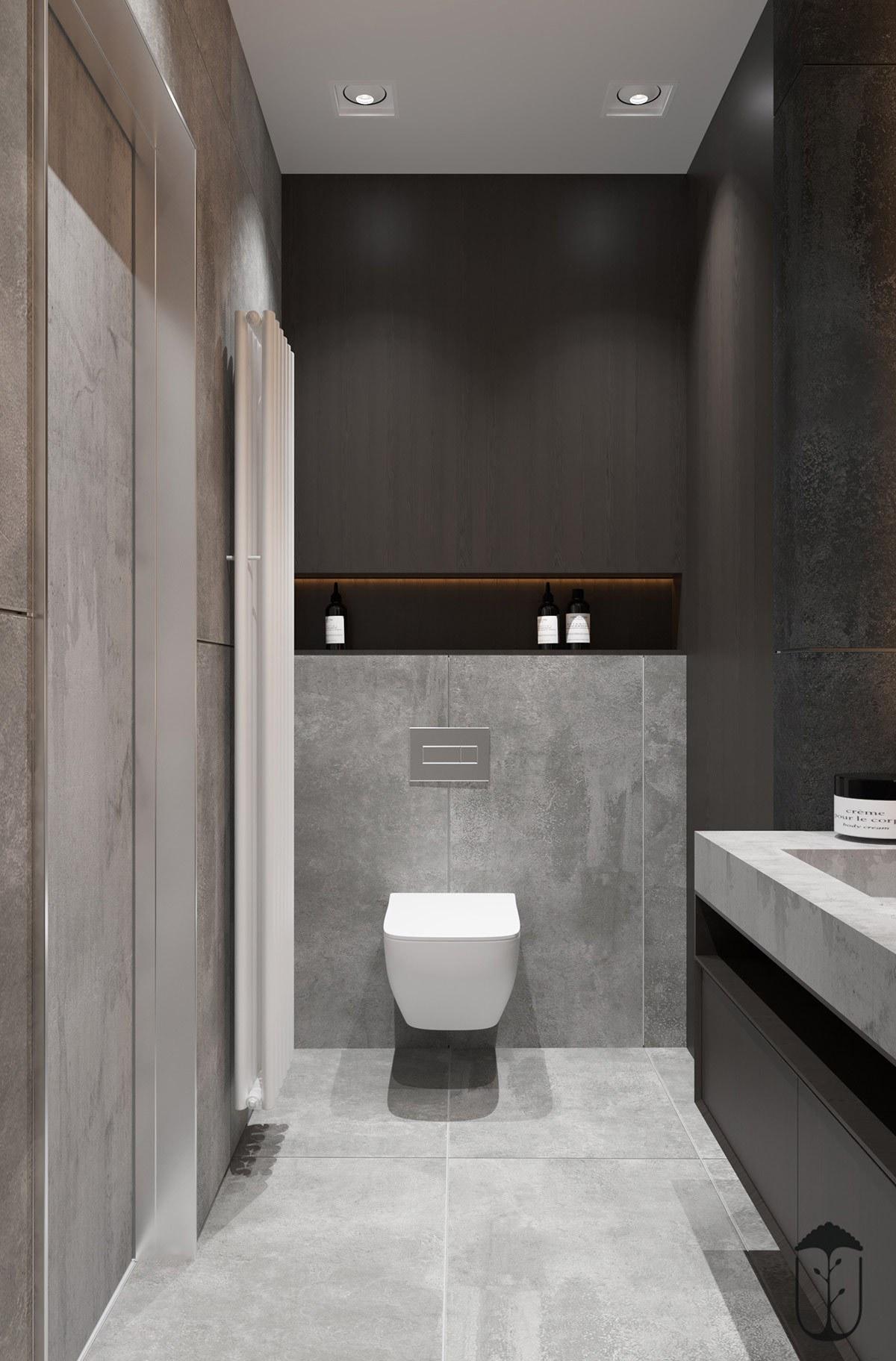 Tường được đánh bóng xi măng màu xám sáng tạo nên những nét khỏe khoắn