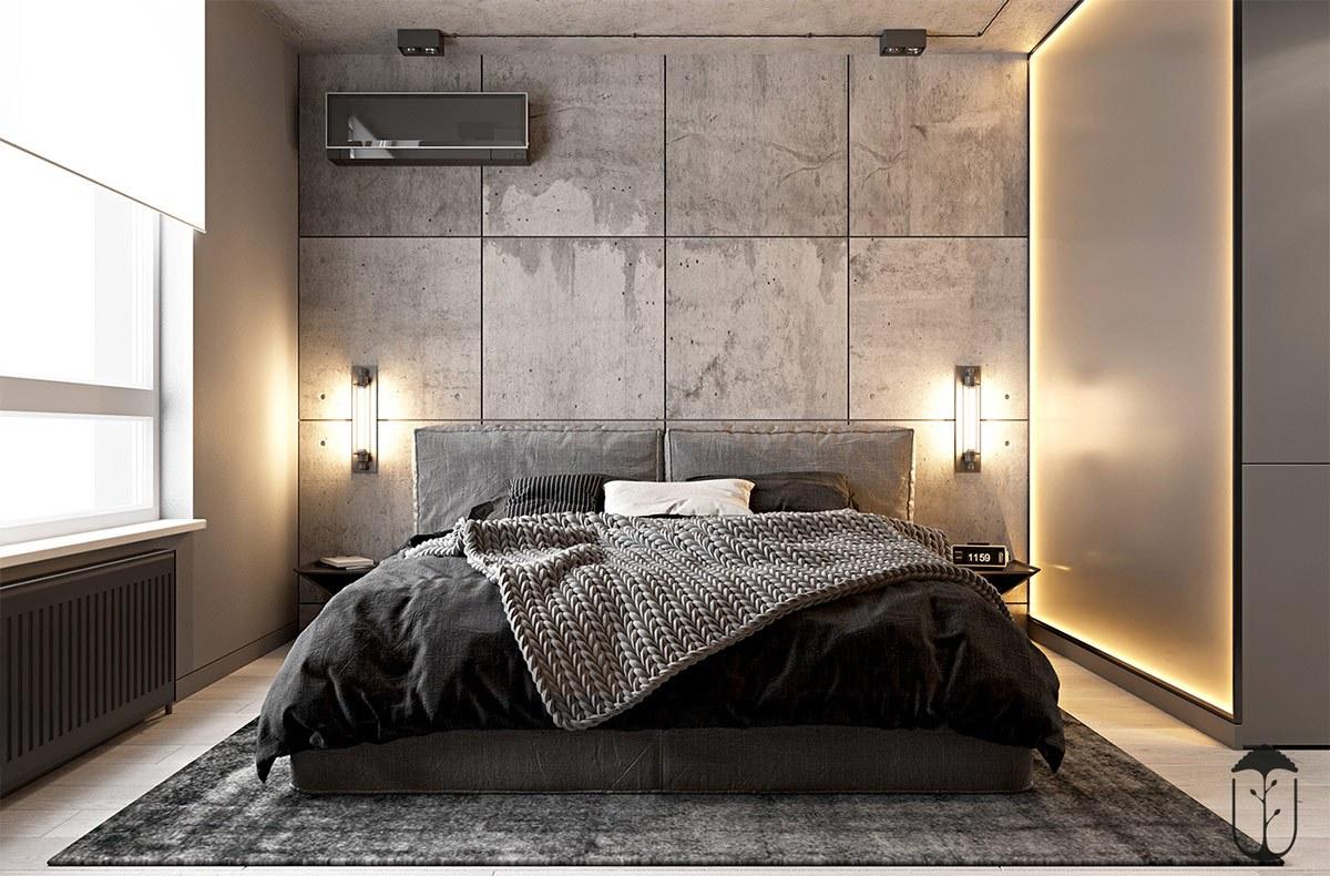 Đầu giường khoảng tường phòng ngủ master thiết kế khối gạch bê tông vuông