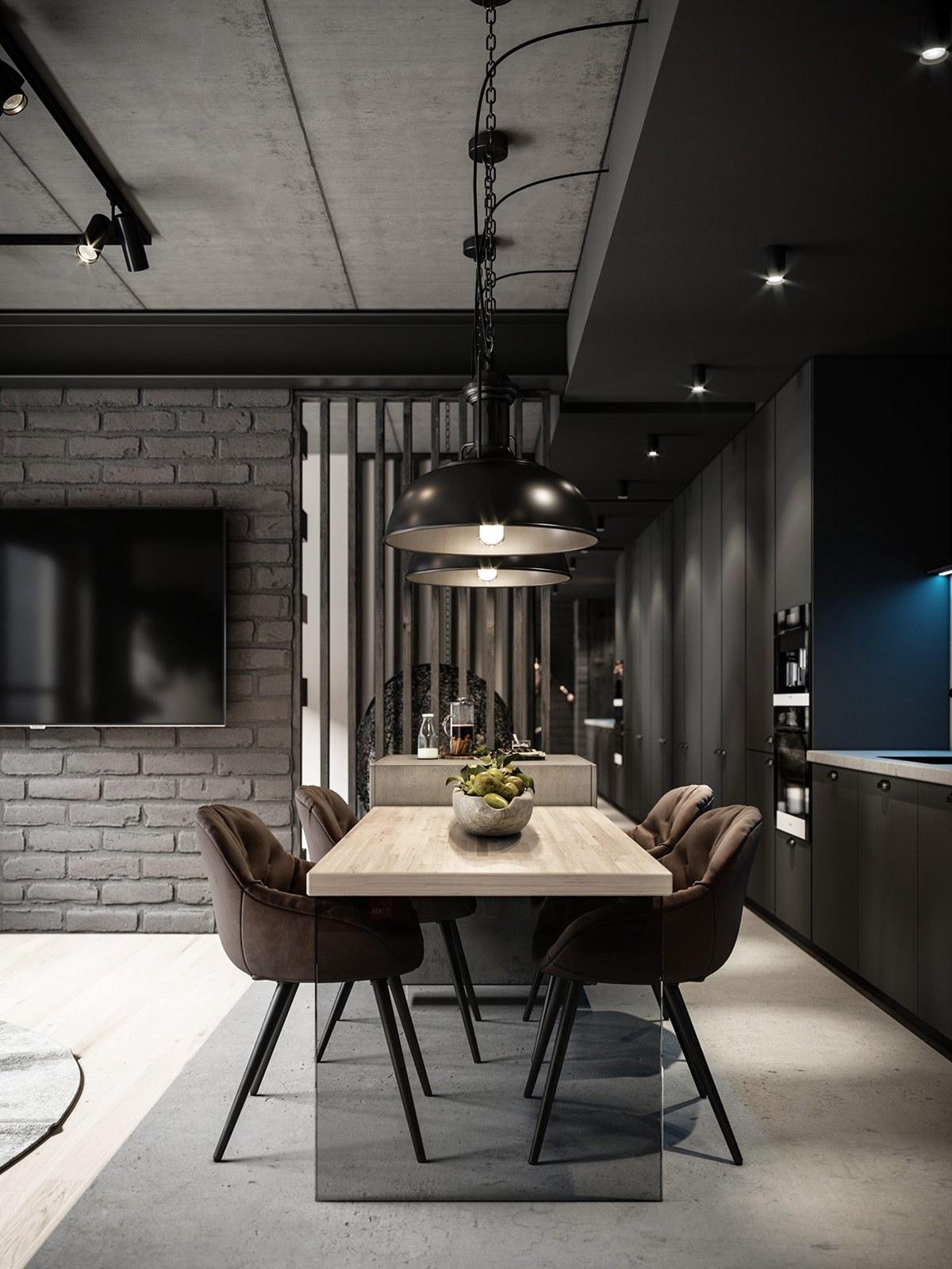 Thiết kế căn hộ chung cư phong cách công nghiệp