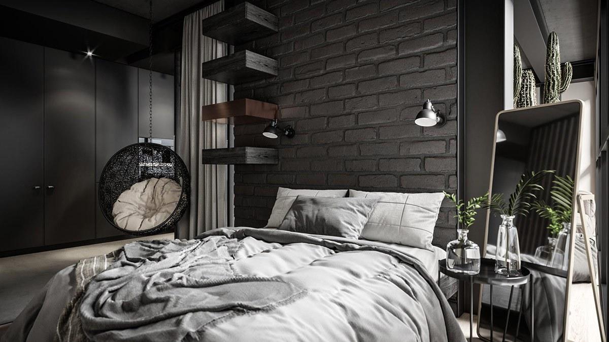 Phòng ngủ sử dụng nội thất tối màu