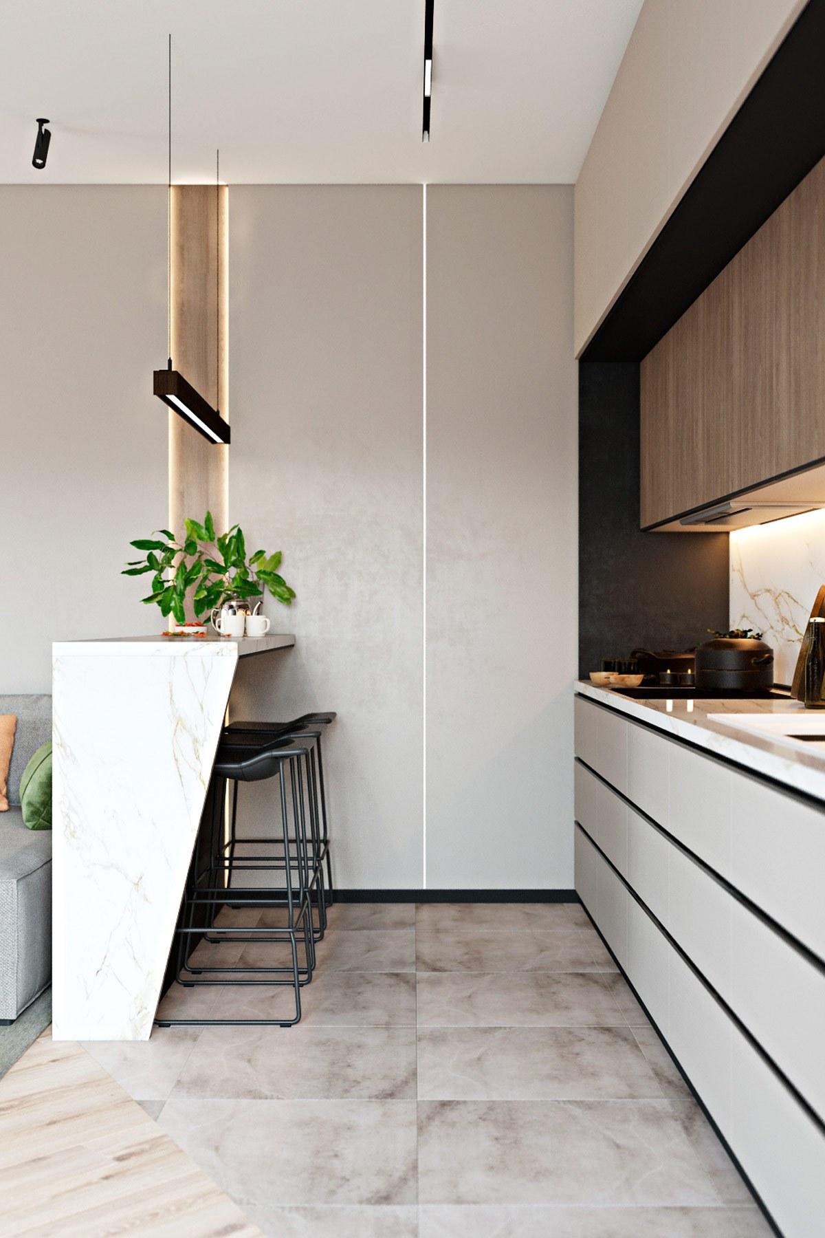 Đảo bếp là điểm nhấn ngăn cách thông minh cho không gian