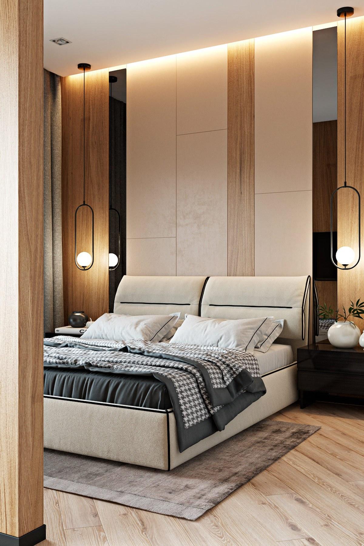 Tường phía đầu giường thi công bằng tấm CNC