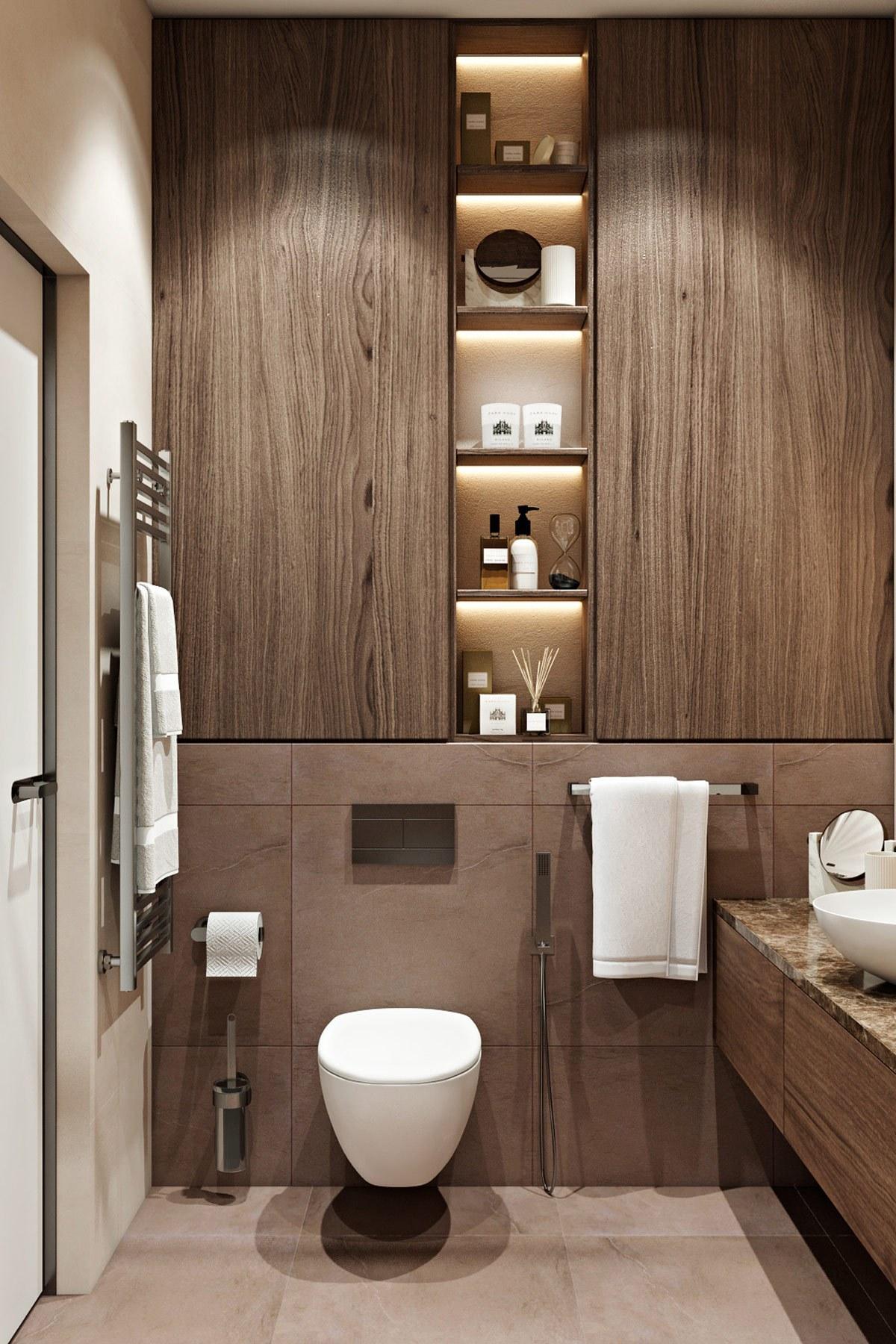 Nhà vệ sinh phòng ngủ master khá đẹp mắt và hiện đại