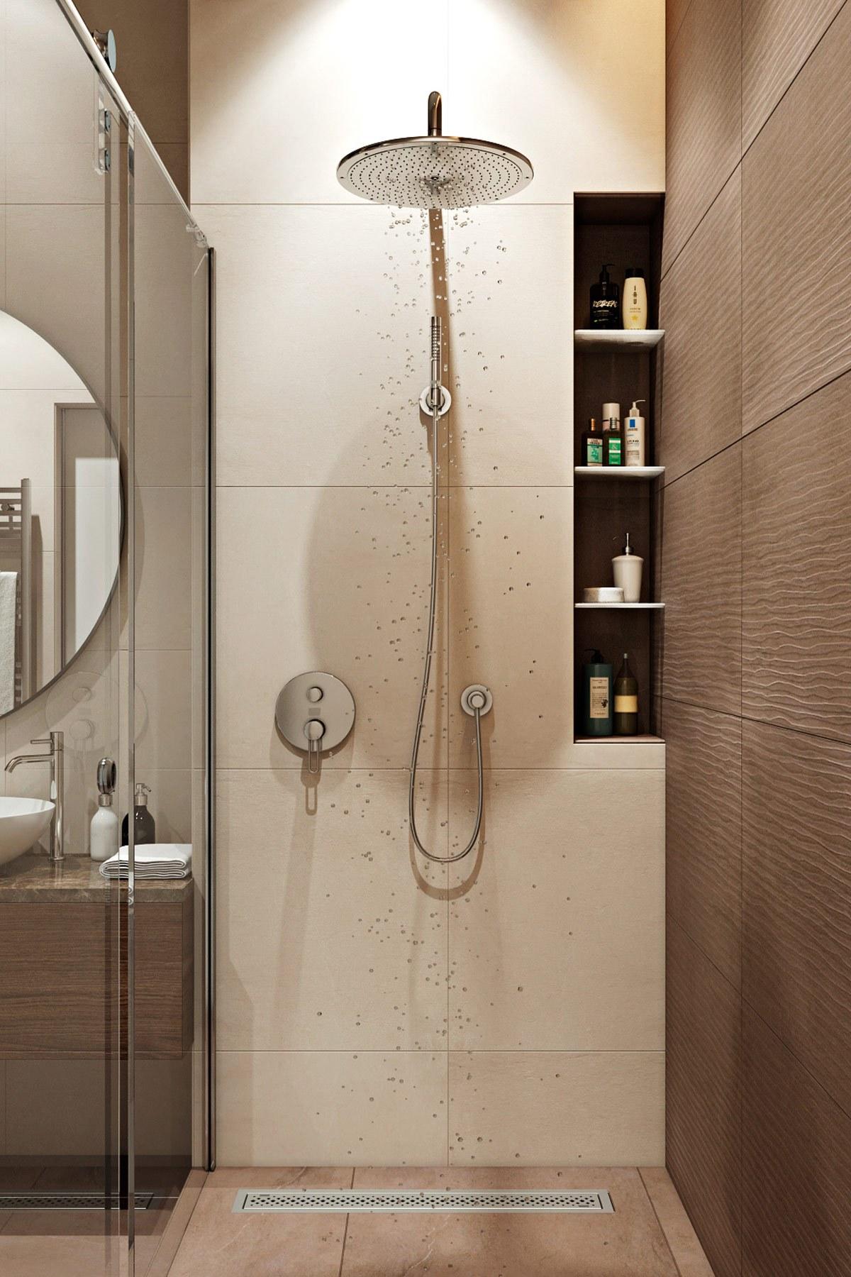 thiết kế nội thất vòi sen đứng chung cư hiện đại