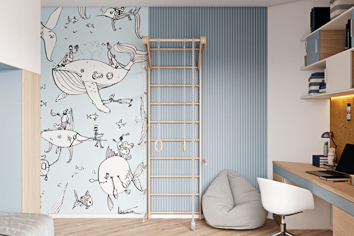 thiết kế nội thất phòng ngủ con trai chung cư hiện đại