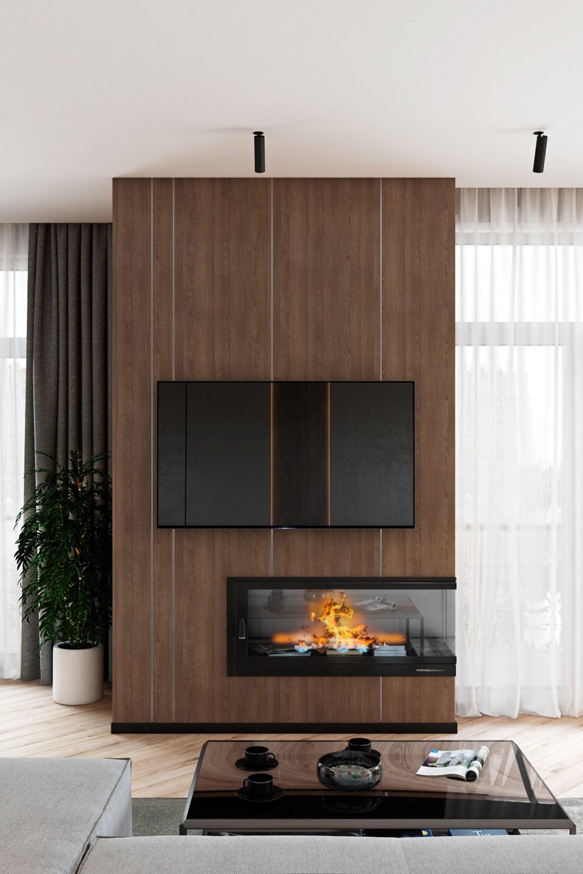 Thiết kế nội thất chung cư phong cách hiện đại tivi treo tường