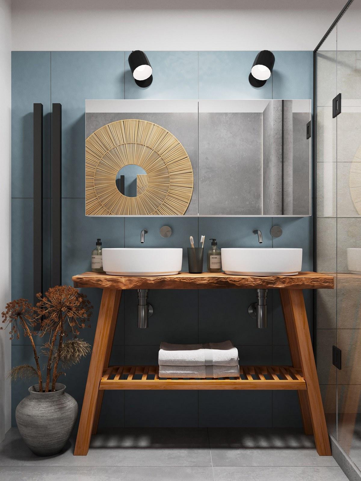 Thiết kế nội thất chung cư phòng vệ sinh phong cách tối giản
