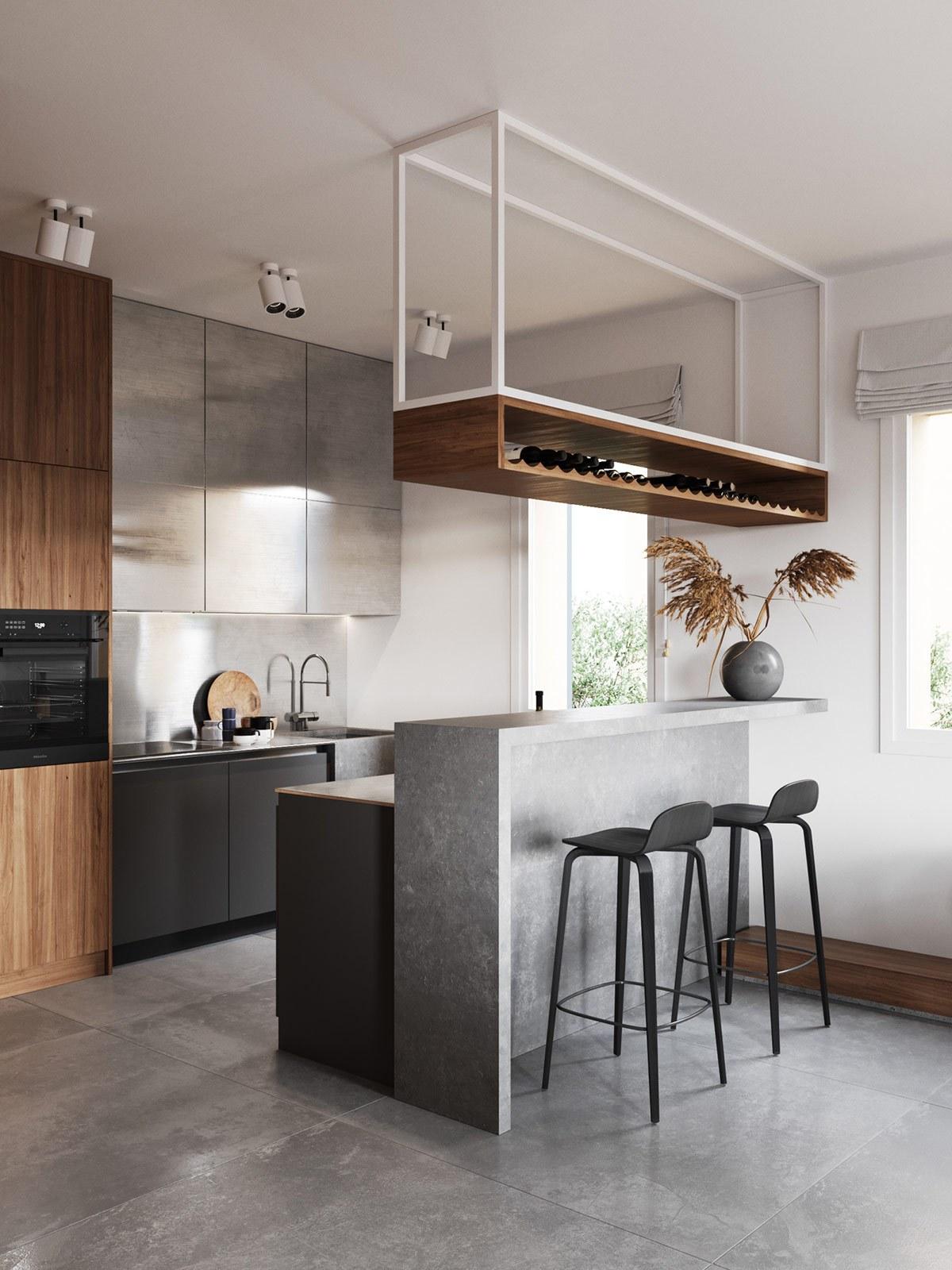 Thiết kế nội thất chung cư phòng khách liền bếp phong cách tối giản