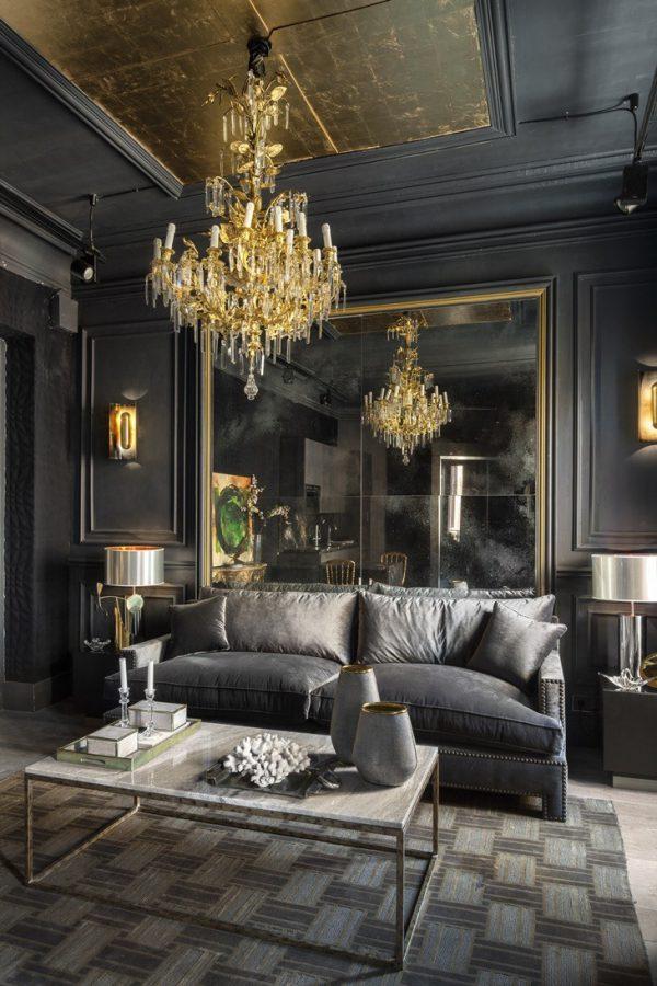 Thiết kế nội thất phòng khách phong cách cổ điển màu xám