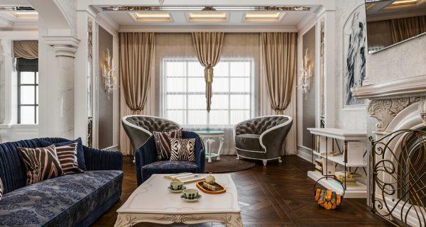 Thiết kế nội thất phòng khách phong cách cổ điển