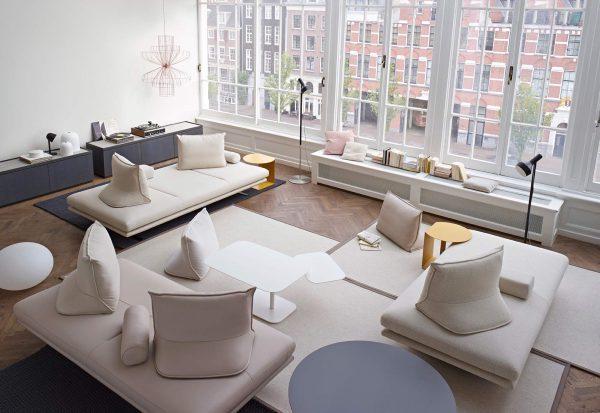 Thiết kế nội thất phòng khách phong cách hiện đại tông kem