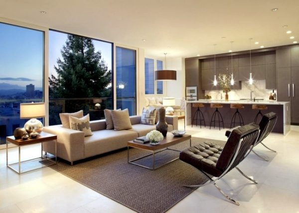 Thiết kế nội thất phòng khách kết hợp bếp
