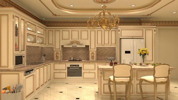 thiết kế nội thất phòng bếp phong cách cổ điển