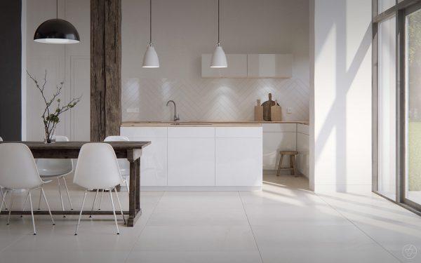 Sử dụng tông màu sáng và gỗ trong nội thất phòng bếp