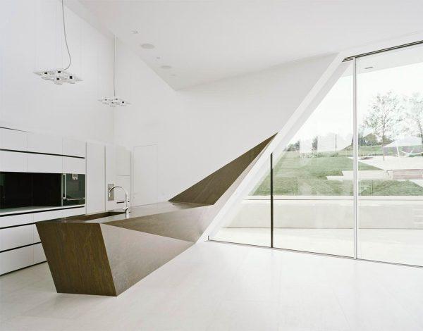 Nội thất phòng bếp tối giản hình khối