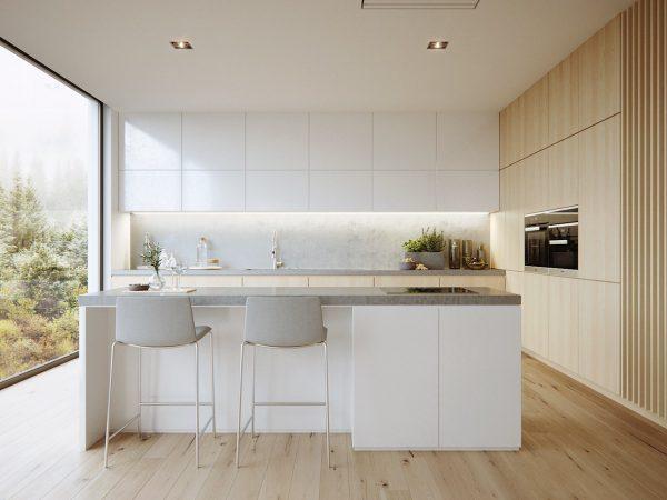 Nội thất phòng bếp tối giản tông trắng