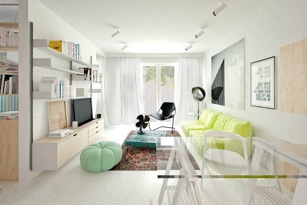 thiết kế nội thất phòng khách màu xanh nhẹ