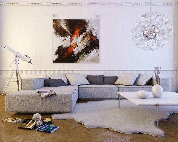 thiết kế nội thất phòng khách tông trắng