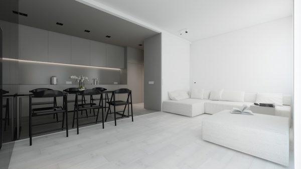 thiết kế nội thất phòng khách tối giản