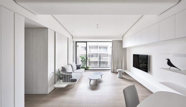 thiết kế nội thất phòng khách tối giản tông trắng
