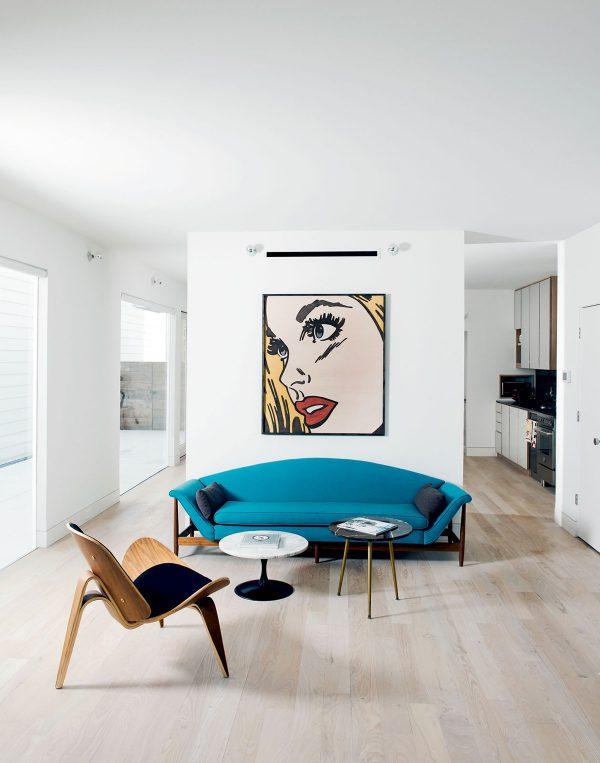 thiết kế nội thất phòng khách tối giản tông trắng đen xanh