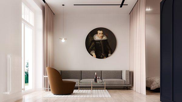 thiết kế nội thất phòng khách hiện đại sử dụng tranh
