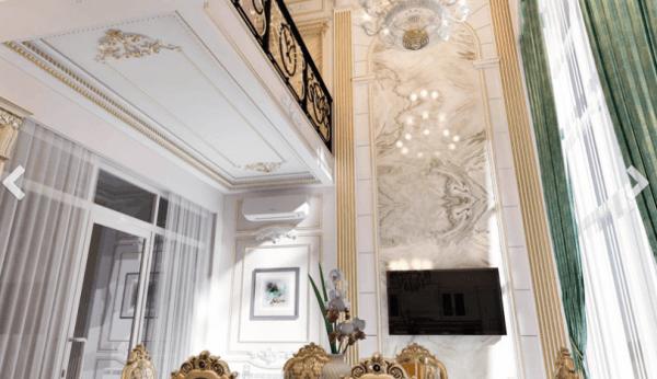 Thiết kế nội thất sảnh biệt thự phong cách tân cổ điển
