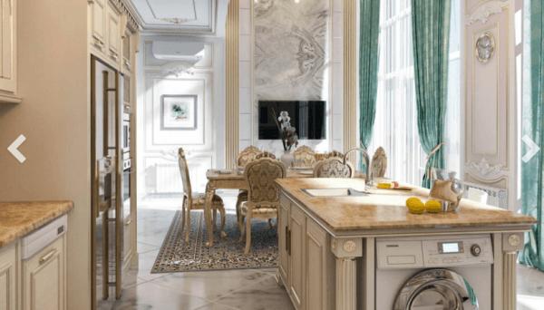 Thiết kế nội thất phòng bếp biệt thự phong cách tân cổ điển