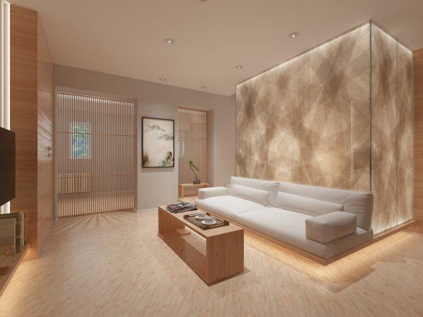 thiết kế nội thất phòng khách hiệu ứng ánh sáng