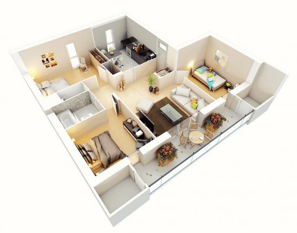 Thiết kế nội thất chung cư 3 phòng ngủ với ban công rộng