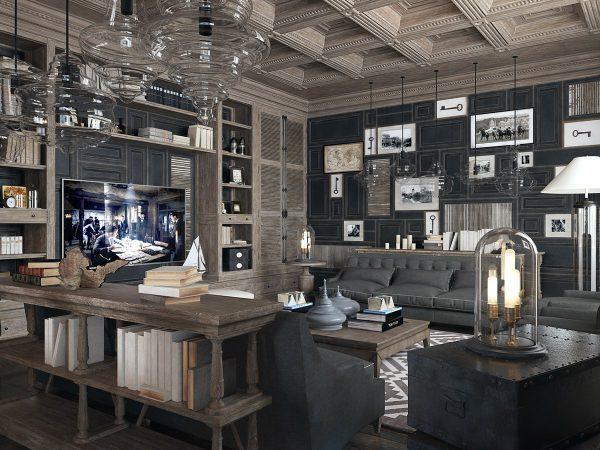 Thiết kế nội thất phòng khách biệt thự phong cách cổ điển