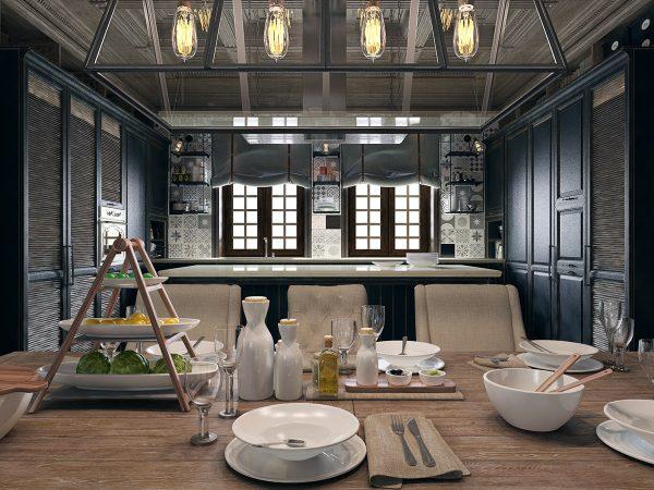 Thiết kế nội thất phòng bếp biệt thự phong cách cổ điển