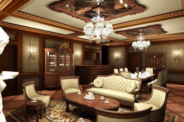 thiết kế nội thất phòng khách cổ điển tông trầm