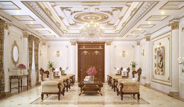 thiết kế nội thất phòng khách cổ điển màu trắng ngà