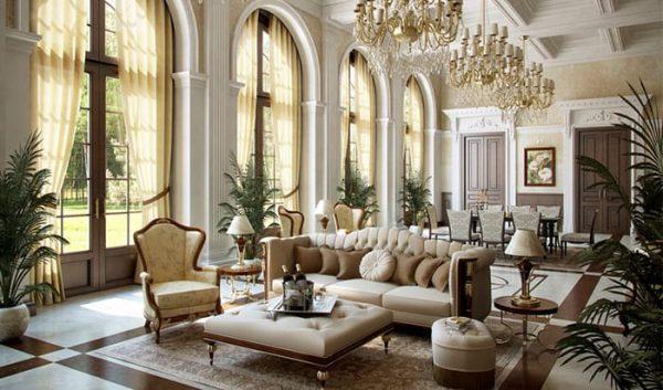 thiết kế nội thất phòng khách cổ điển tông trắng