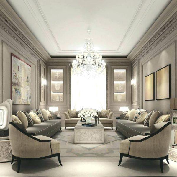 thiết kế nội thất phòng khách tân cổ điển xám trắng