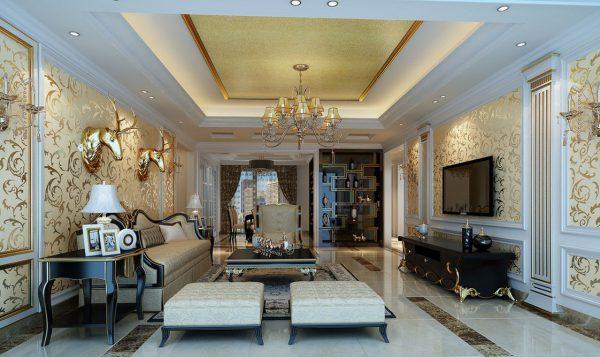 thiết kế nội thất phòng khách tân cổ điển họa tiết