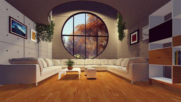 thiết kế nội thất phòng khách tân cổ điển cửa sổ tròn