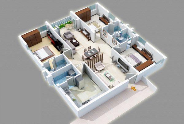 Thiết kế nội thất chung cư 3 phòng ngủ với trung tâm là bàn ăn