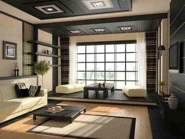 thiết kế nội thất phòng khách phong cách nhật tông đen trắng