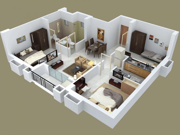 Thiết kế nội thất chung cư 3 phòng ngủ diện tích nhỏ