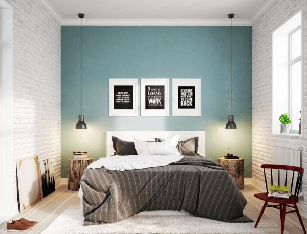 Thiết kế nội thất phòng ngủ phong cách Scandinavian màu xanh nhẹ
