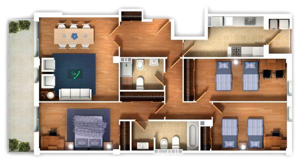 Thiết kế nội thất chung cư 3 phòng ngủ diện tích rộng phòng ngủ đôi