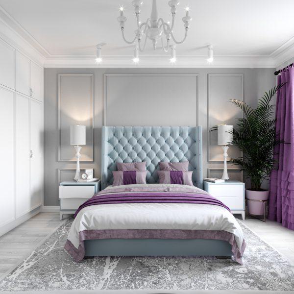 Phòng ngủ thiết kế theo phong cách tân cổ điển sắc tím